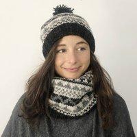 Fair Trade Fair Isle Knit Wool Lined Neckwarmer Scarf