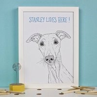 Personalised Dog Breed Portrait Line Drawings, Teal/Light Blue/Blue