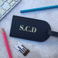 Leather Luggage Tag With Initials