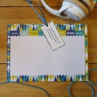 Personalised Weekly Planner 'Harlequin Blue', Blue