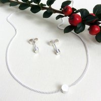 Silver Tiny Circle Necklace And Earring Set, Silver