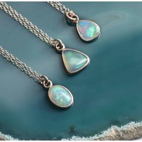 Rose Gold Welo Opal October Birthstone Necklace, Gold