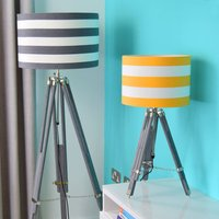 Grey Tripod Lamp Base With Choice Of Stripe Shade, Grey/White/Yellow