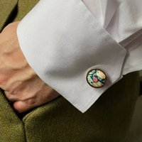 Liberty Cufflinks In Green Strawberry Thief