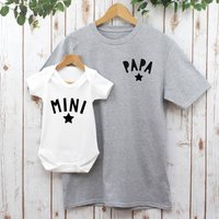 Papa And Mini T Shirt Set For Daddy And Baby