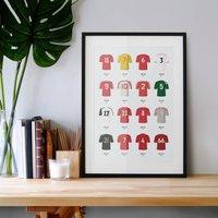 Classic Kits Football Team Print, Unframed
