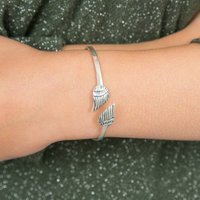 Silver Angel Wings Bangle, Silver