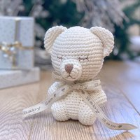 Personalised Hand Knitted Christening Bear