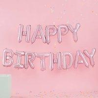Matte Pink Happy Birthday Balloon Bunting Decoration