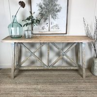 X Frame Trestle Console Table Pale Grey Teal