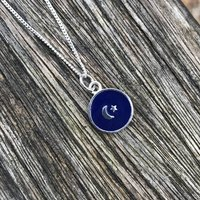 Small Moon And Star Enamel Necklace Sterling Silver, Silver