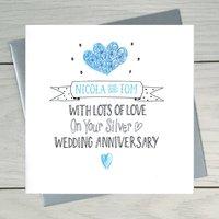 Silver Wedding Anniversary Personalised Greeting Card