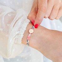 Personalised Liberty Print Bracelet, Bright Pink/Pink/Silver