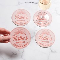 Set Of Four Personalised Vintage Style Beer Mats