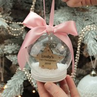 Personalised 1st Christmas Star Snow Globe Bauble