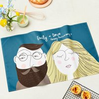 Personalised Face Tea Towel For Couples