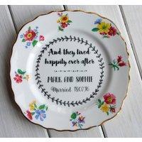 Personalised Vintage China Tea Wedding Keepsake Plate