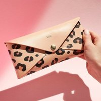 Personalised Leopard Print Leather Envelope Purse