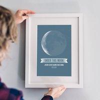 'Under This Moon' Personalised Print, Blue/Dusky Pink/Pink