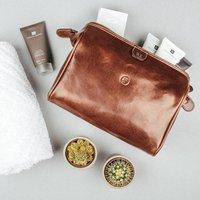Personalised Leather Washbag. 'The Duno Medium', Chestnut/Tan/Dark Chocolate