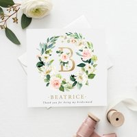 Personalised Floral Bridesmaid Card | Gold Effect