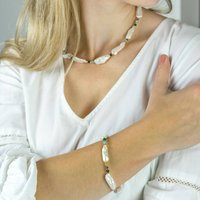 White Pearl And Gemstone Necklace And Bracelet Set