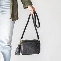 Box Leather Snakeskin Cross Body Personalised Handbag