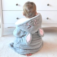 Personalised Bunny Grey Kids Dressing Gown