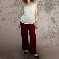 Palazzo Trousers In Deep Red Silk Velvet