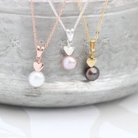 Mini Pearl Pendant With Heart In Silver Or Gold, Silver
