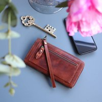 Leather Purse With Wristlet, Distressed Brown