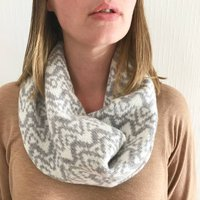 Ladies Lambswool Knitted Snood With Big Waves Pattern