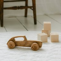Wooden Retro Racing Car Toy White