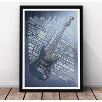 Guitar Legends Print, Navy/Rust/Black