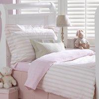 Pink Ticking Cotbed Flat Sheet, Pink