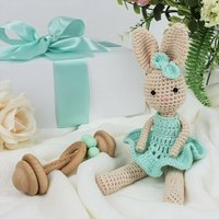 Crochet Bunny And Wooden Baby Rattle Gift Box
