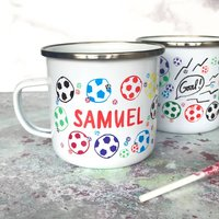 Personalised Football Enamel Mug