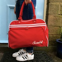 Personalised Weekend Retro Style Bag, Black/White/Red