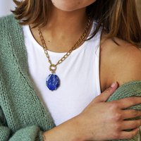 Lapis Lazuli Gemstone And Chunky Chain Necklace