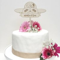 Personalised Wooden Plane Wedding Cake Topper