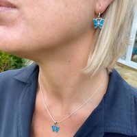 Turquoise Butterfly Necklace And Earring Set
