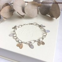 Silver And Gold Petals Bracelet, Silver