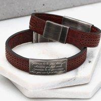 Mens Personalised Leather Message Bracelet
