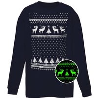 Childrens Glow In The Dark Long Sleeve Reindeer Tshirt