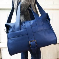 Handcrafted Marine Blue Leather Holdall, Blue