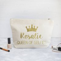 Personalised Queen Make Up Bag, Gold/Silver/Silver Pink