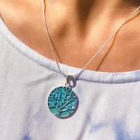 Tree Of Life Turquoise And Silver Necklace, Silver