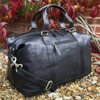 Black Buffalo Leather Travel Bag, Holdall, Gym Bag