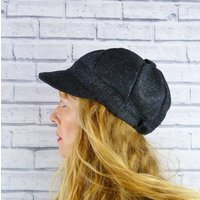 Charcoal Yorkshire Tweed Baker Boy Hat