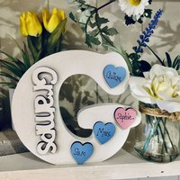 G For Gramps Ivory Letter Personalised Hearts